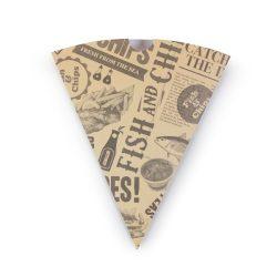 Sültkrumplis tölcsér, karton, újságpapír-hatású, lebomló