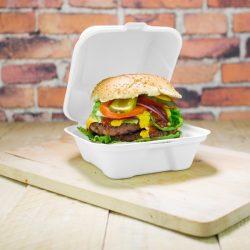 Elviteles doboz, hamburgeres, 15 cm, erős falú, lebomló cukornád | nettó 61,50 Ft/db (BONTOTT KARTON)