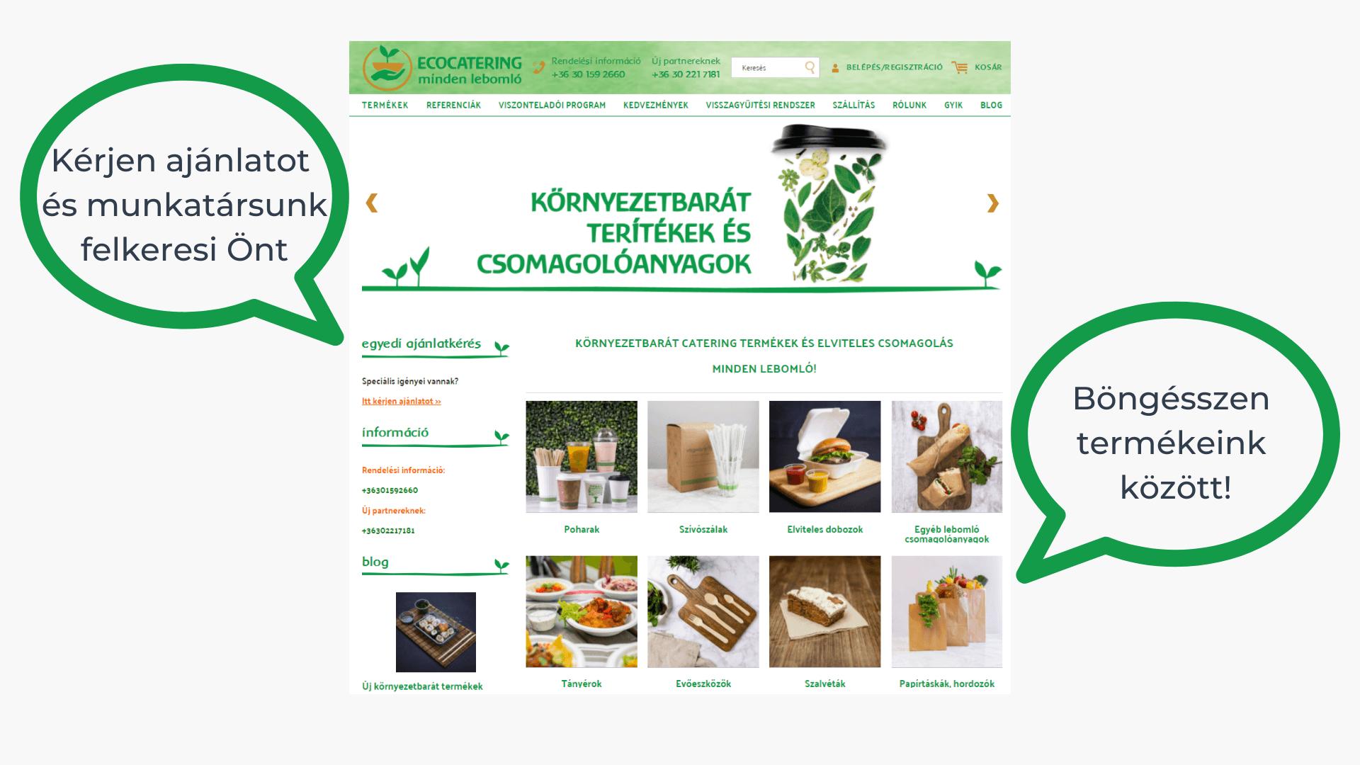 Az ecocatering.hu weboldal használata